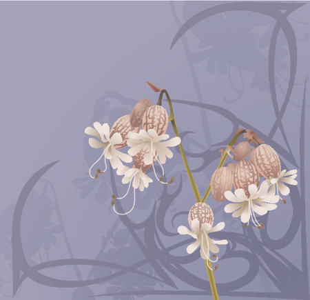 flower art: Beautiful Flower Background. A beautiful flower background with art nouveau swirls.