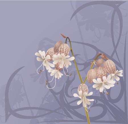 stile liberty: Bellissima fiore sfondo. Un bel fiore di fondo con turbinii in stile art nouveau.
