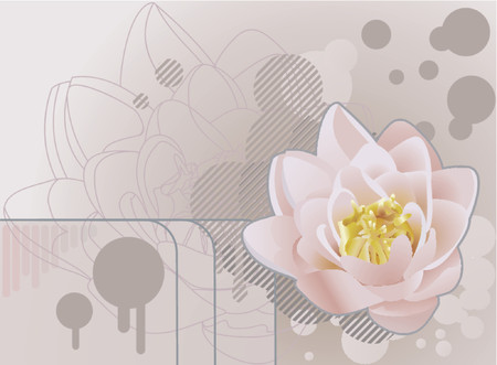 Future grunge lotus background.A funky background featuring a beautiful lily or lotus. No meshes used. Vector
