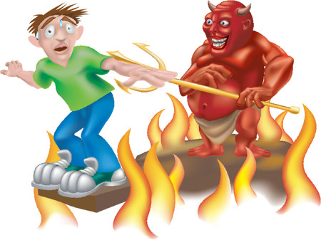 Hell of a day. A devil laughing as he makes someone walk the gangplank!  Vector