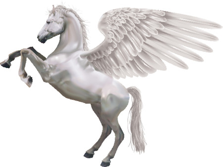 rearing: Pegasus. An illustration of the mythological horse Pegasus rearing up on its hind legs.