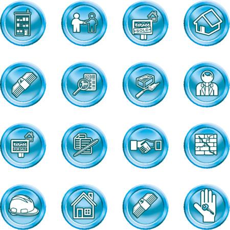 icone immobilier: Immobilier ic�ne s�rie set. Ic�nes ou �l�ments li�s � la maison  maison de l'achat, l'immobilier, ou les agents immobiliers. Pas de maillages utilis�s.
