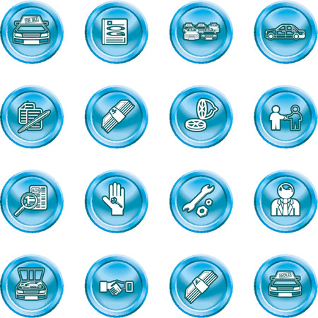 showrooms: Vehicle dealership icon set. Icons or design elements related to purchasing a car. No meshes used.
