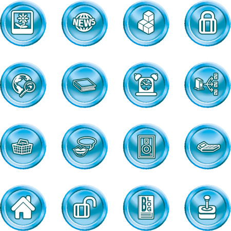 Internet and Computing Media Icons. A set of internet and computing media icons.  No meshes used Vector