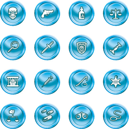 csi: law, order, police and crime icon set. A series of design elements or icons relating to law, order, police and crime.