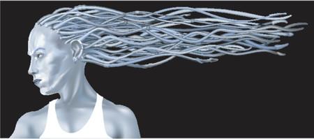 dreadlocks: Se�ora Azul De la Fantas�a. Una ilustraci�n del vector de la fantas�a de una mujer azul hermosa