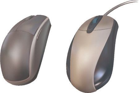 scroll wheel: Computer Mouse. Vector illustrations of two computer mice
