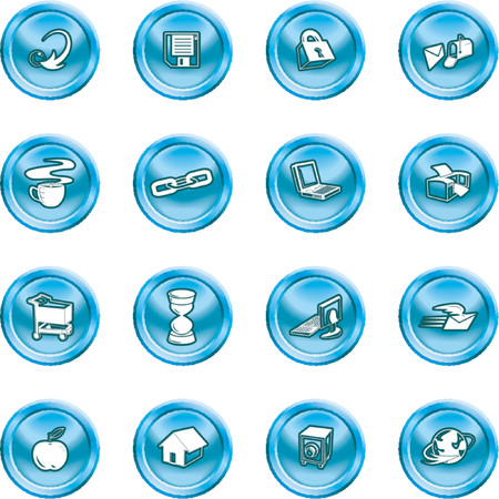relating: Web and Computing icons. Series of icons relating to the internet and Computing. Illustration