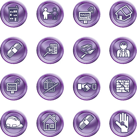 Real Estate Icons. Icons or design elements related to home  house buying, real estate, or estate agents. No meshes used. Vector
