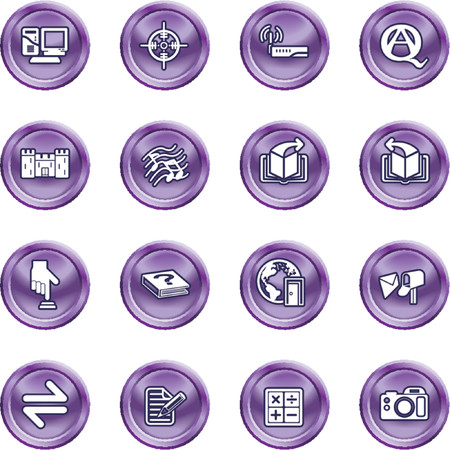 Internet or Computing Icon Set.  No meshes used Vector