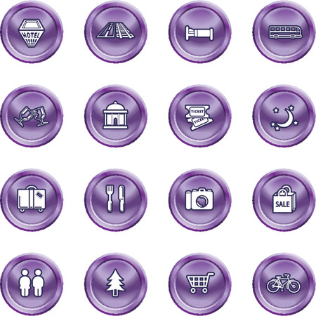 Tourist locations icon set. Icon set relating to city or location information for tourist web sites or maps etc. Stock Vector - 1326195
