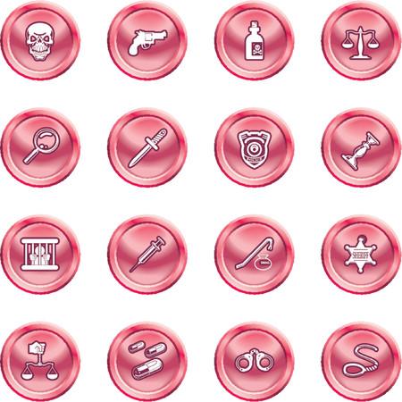 csi: la ley, el orden, la polic�a y la delincuencia icono conjunto. Una serie de elementos de dise�o o iconos relativos a la ley, el orden, la polic�a y la delincuencia.