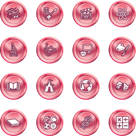 föremål: Academic study subject icons. A subject category icon set eg. science, maths, language, literature, history, geography, musical, physical education etc