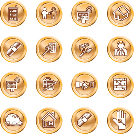Real Estate Icons. Icons or design elements related to home / house buying, real estate, or estate agents. No meshes used. Stock Vector - 1326392