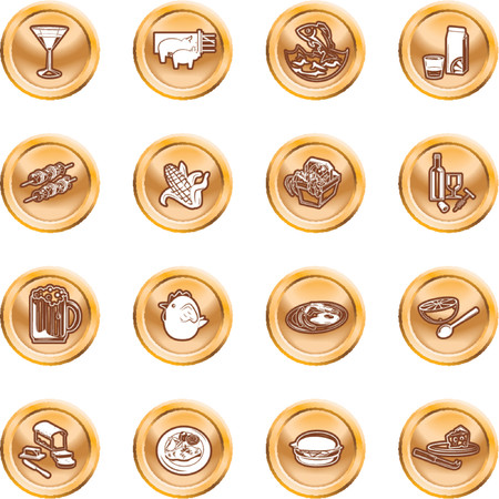 Food Icon Set. A set of food and drink icons. No meshes used. Stock Vector - 1326398