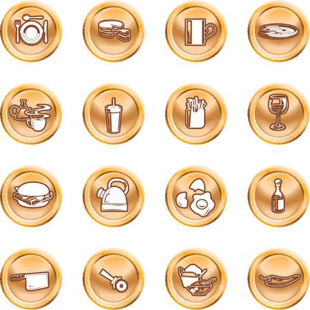 gateau: Cibo icona pulsante serie set. Una serie di cibi e bevande icone. N. maglie utilizzate.  Vettoriali
