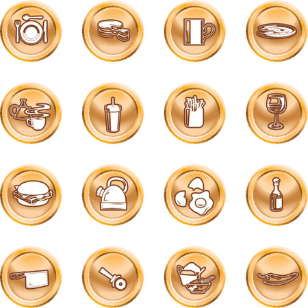 Food Icon Button Series Set. A set of food and drink icons. No meshes used. Vector