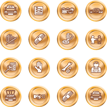 car showroom: Icono de veh�culos de distribuci�n establecidos. Los iconos o elementos de dise�o relacionados con la compra de un autom�vil. No mallas utilizadas.