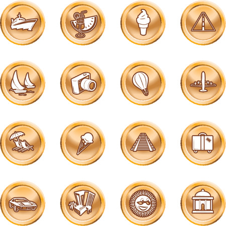 Travel and tourism Icons. A series of icons relating to vacations, travel and tourism. No meshes used. Vector