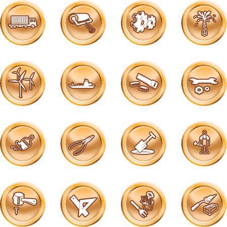 relating: Tools and industry icon set. A series of icons relating to tools and industry. No meshes used.