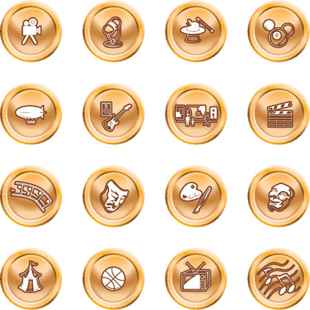 relating: Hobbies and entertainment icon set. Icons relating to hobbies and entertainment and pastimes Illustration