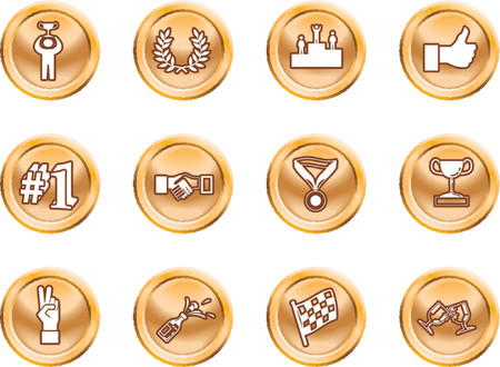 relating: Victory Icons. Victory and Success Icon Set Series Design Elements A conceptual icon set relating to victory and success.