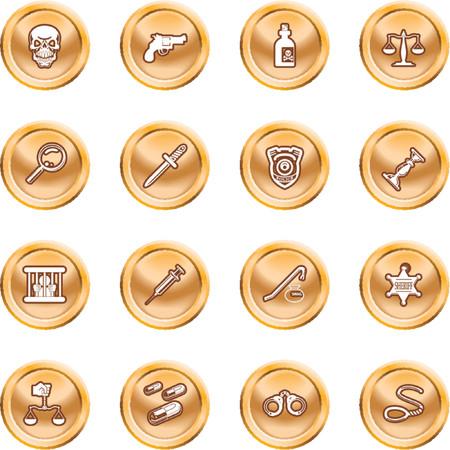 csi: la ley, el orden, la polic�a y la delincuencia icono conjunto. Una serie de iconos o elementos de dise�o relacionados con la ley, el orden, la polic�a y la delincuencia. Vectores