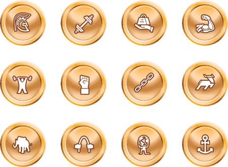 relating: Strength Concept Icon Set. A conceptual icon set relating to strength. Illustration