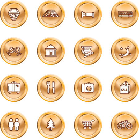 relating: Tourist locations icon set. Icon set relating to city or location information for tourist web sites or maps etc.