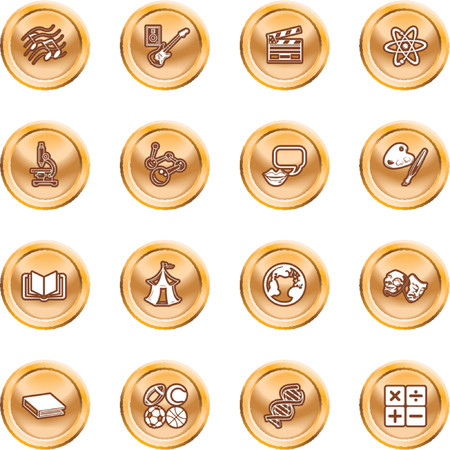 Academic study subject icons. A subject category icon set eg. science, maths, language, literature, history, geography, musical, physical education etc Vector
