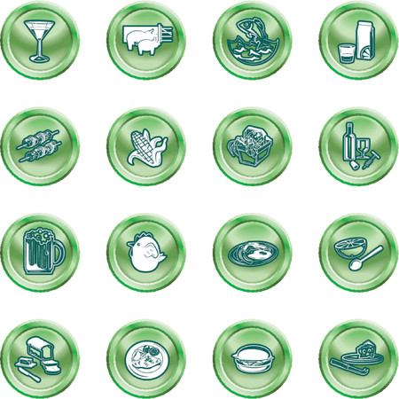 Food Icon Set. A set of food and drink icons. No meshes used. Vector