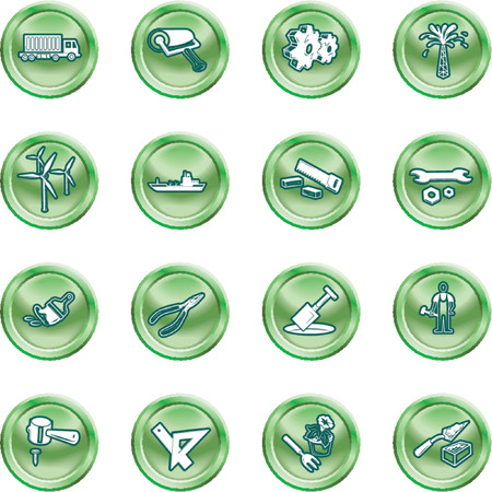 Tools and industry icon set. A series of icons relating to tools and industry. No meshes used. Vector