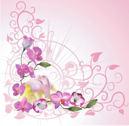 Floral woman background. A pretty floral background with a woman daydreaming  Vector