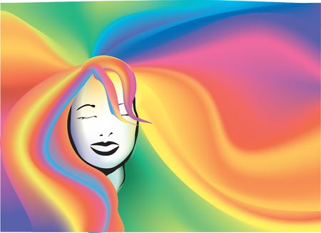 Rainbow hair background. A retro Rainbow hair background Vector
