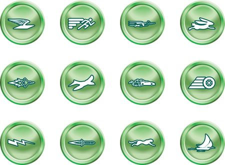Speed Icon Set Series Design Elements. A conceptual icon set relating to speed, being fast, and or efficient. Vector