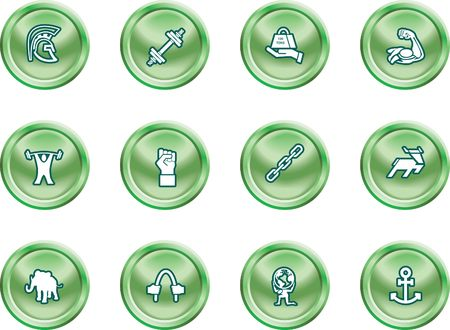 Strength Concept Icon Set. A conceptual icon set relating to strength. Stock Vector - 1390681
