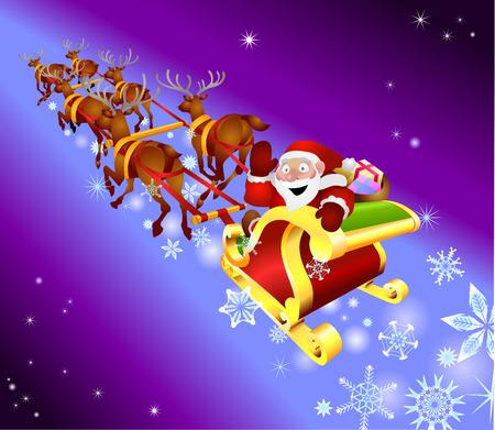 Christmas sled. Santa waving from his sled