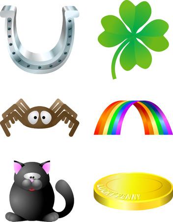 money cat: Luck elementos. Ilustraci�n serie de iconos relacionados con suerte  Vectores