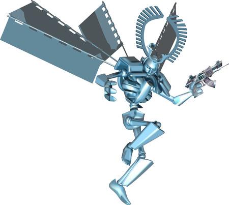 Funky samurai robot. A cool futuristic manga style samurai robot Stock Vector - 1582913