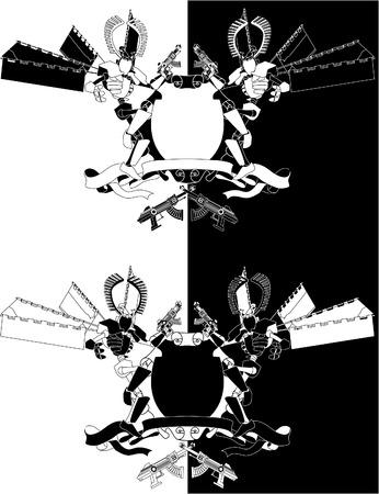 robot with shield: Funky samurai robot monochrome shield. A cool futuristic coat of arms featuring manga style samurai robot