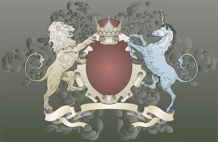lion drawing: Leone e Unicorn Stemma. Un scudo stemma elemento che caratterizza un leone, unicorno, e la corona di foglie di quercia scorre