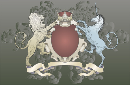 Lion and Unicorn Coat of Arms. A shield coat of arms element featuring a lion, unicorn, crown and oak leaf scrolls
