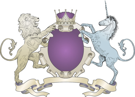 Lion and Unicorn Coat of Arms. A shield coat of arms element featuring a lion, unicorn and crown Vector