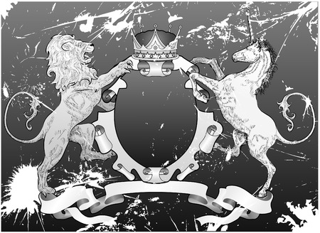 Grunge Lion and Unicorn Shield.A grunge shield coat of arms element featuring a lion, unicorn and crown Illustration