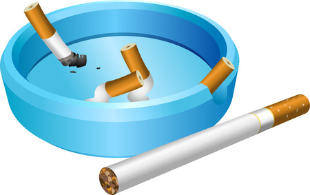 ashtray: Ashtray. A vector illustration of an ashtray with cigarette butts Illustration