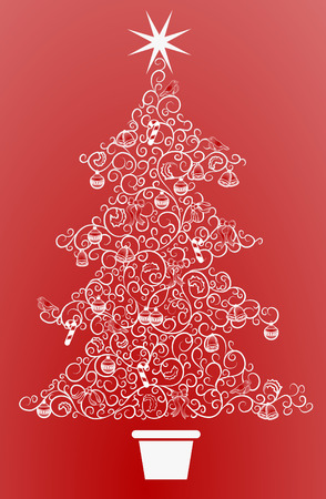 Christmas tree. An abstract Christmas tree made up of a swirly pattern Vector