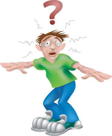 paniek: Verwarde man. Een vector afbeelding van een verwarde jongeman vroeg zich af wat te doen  Stock Illustratie
