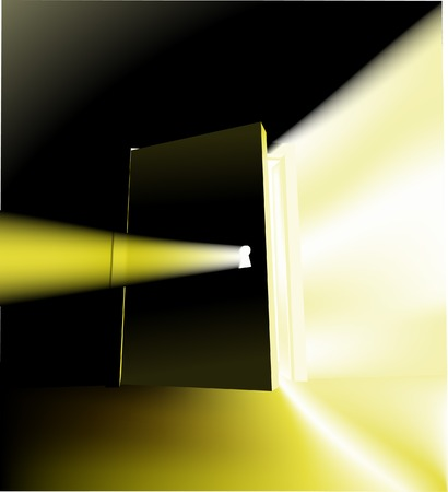 inventions: Door. A door opening with something magical behind it, conceptual piece