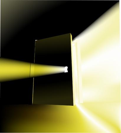 Door. A door opening with something magical behind it, conceptual piece