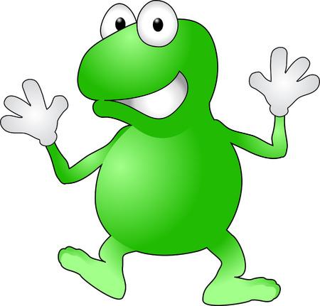 Kikker. Een afbeelding van een vrolijke wuivende kikker  Stockfoto - 1629150